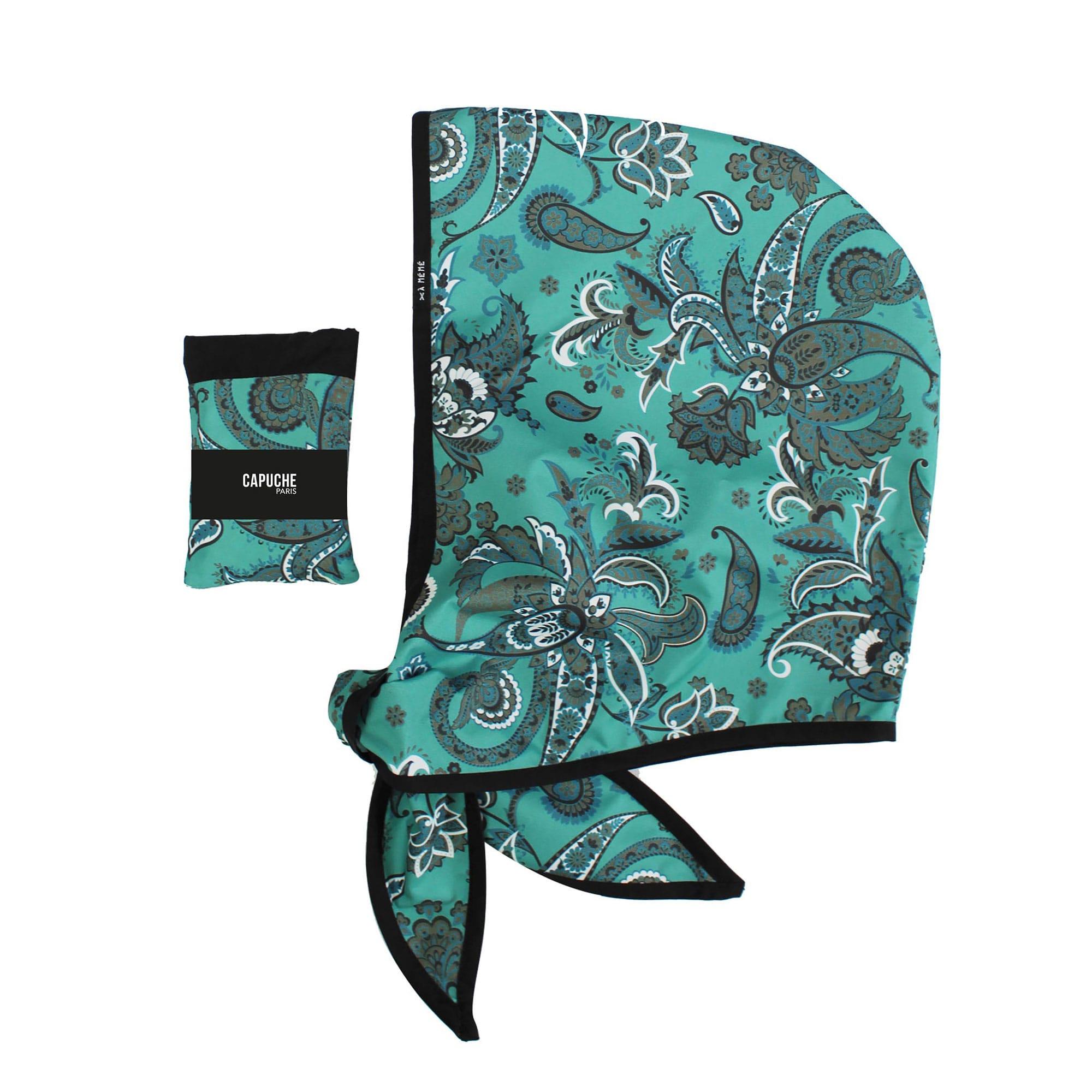 Capuche Paris - Sea Green Print Rain Hood